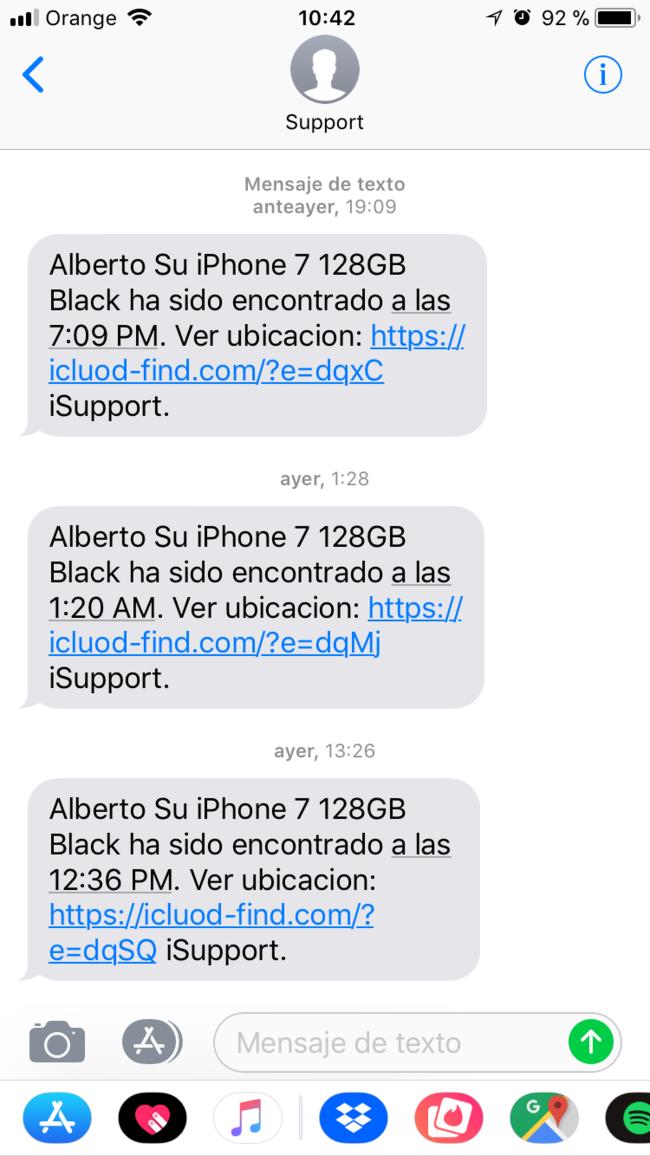 Phishing <stro />Apple℗</strong> Store&#8221; class=&#8221;centro_sinmarco&#8221; src=&#8221;https://i.blogs.es/ae8336/phishing_apple_store/650_1200.jpg&#8221; /></p> <p>El 1er ejemplo nos lo manda vuestro lector Andrés Martín: un correo en el que se nos indica que <strong>se ha confirmado el pago para la compra de un dron en la tienda online de Apple</strong>. Lo lógico es que entremos en pánico al visualizar que <strong>Apple℗</strong> nos haya facturado casi 500 USD de compra en algo que no hemos comprado, y es cabalmente de lo que se aprovecha el timador.</p> <p>Vamos tan rápido a pulsar el vinculo para cancelar la orden que no nos damos cuenta de algo sospechoso: el correo entrega inclusive demasiadas explicaciones acerca de cómo cancelarlo. Como si efectivamente quisiera que cancelaras la compra. Sólo hace falta visualizar la URL del vinculo para darnos cuenta del timo:</p> <p><code>https://appleid.apple.pleaseverifyaction.com/manage/?view=login&amp;appIdKey=5ff3ae8f532daf3&amp;country=ES</code></p> <p><strong>Esto no es un vinculo oficial de Apple</strong>. La URL comienza por appleid.apple, de acuerdo, pero el dominio es pleaseverifyaction.com. Es un dominio plenamente ajeno a la compañía que ahora mismo redirige a una tienda llamada Wanderlust. </p> <p>El dominio de los vinculos a <strong>Apple℗</strong> es siempre apple.com, así que jamás sigáis las instrucciones de una website que tenga un dominio diferente. Y por supuesto, <strong>Apple℗</strong> <strong>nunca os solicitará datos(info) sensibles como el pin de vuestra tarjeta de crédito</strong>. Para estas cosas siempre viene bien tener activada la autenticación en dos factores.</p> <p><img alt=