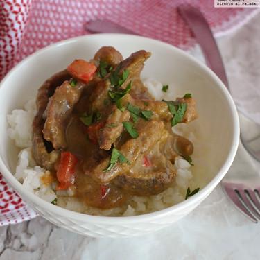 Curry tailandés con carne de res. Receta fácil
