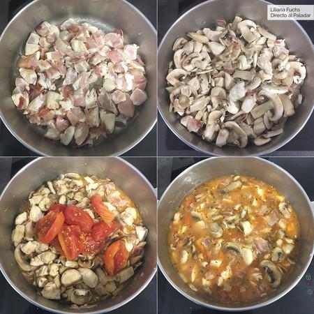 Pollo Chausseur o en salsa cazadora
