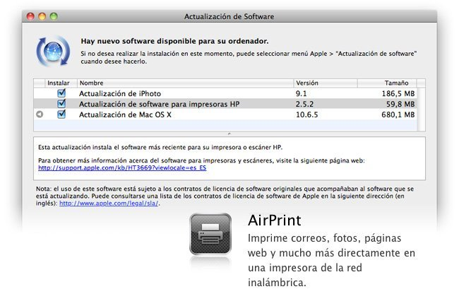 AirPrint Mac OS X 10.6.5