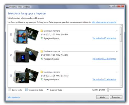 Importacion en Windows Live Photo Gallery