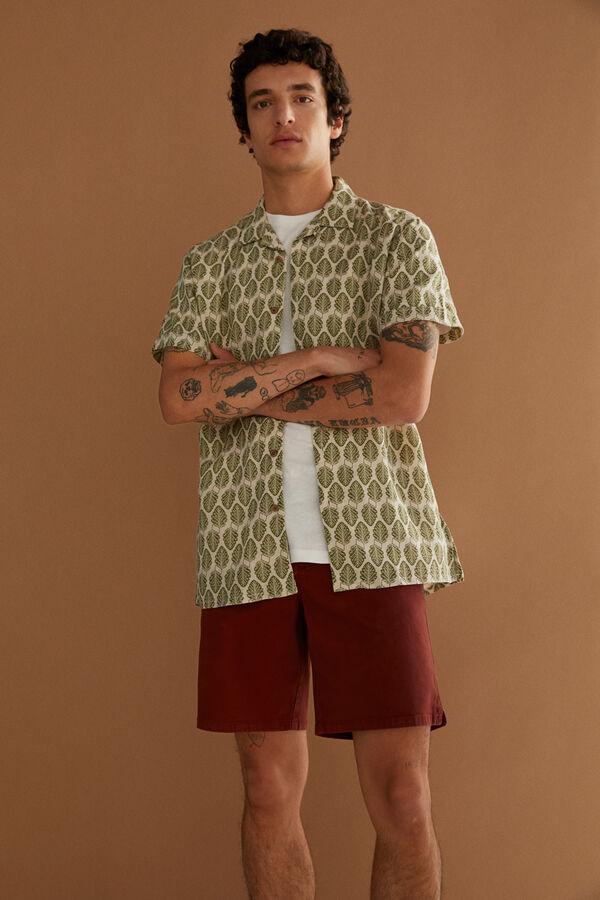 Camisa de lino con estampado botánico