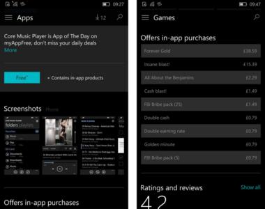 La tienda de Windows 10 transparentará las compras in-app disponibles para cada aplicación