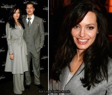 Angelina Jolie y Brad Pitt de gris en la premiere de Benjamin Button