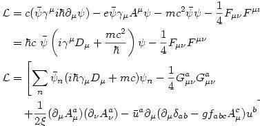Lagrangianos de QED (electrodinámica cuántica) y QCD (cromodinámica cuántica).