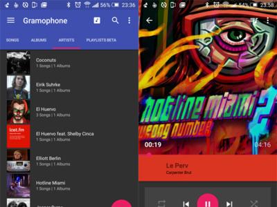 Gramophone, un reproductor de música con Material Design y mucha clase