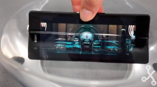 Sony Xperia Z sumergido