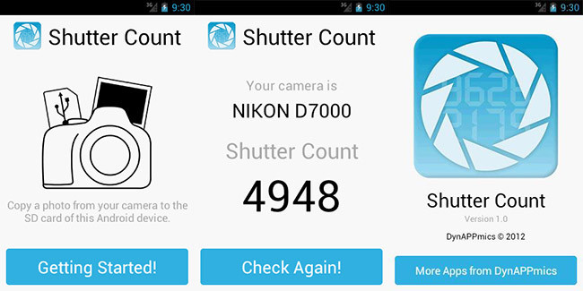 Comprueba el número de disparos de tu cámara con Shutter Count para Android