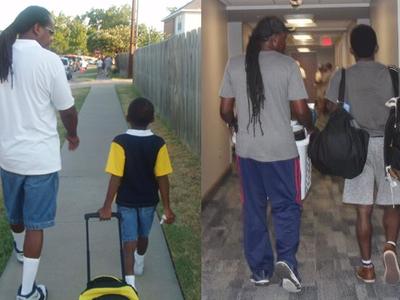 El tiempo vuela: estas emotivas fotos de padre e hijo el primer día de clases nos lo demuestran