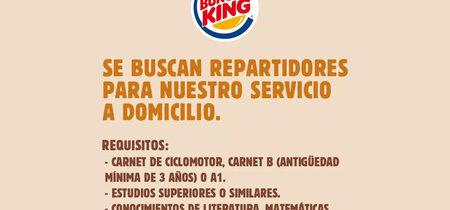 La oferta laboral de Burger King que tanto ha indignado a Twitter es una campaña publicitaria