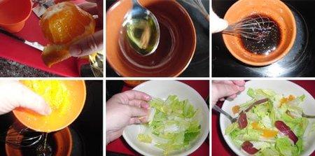 Ensalada de naranja y jamón de pato