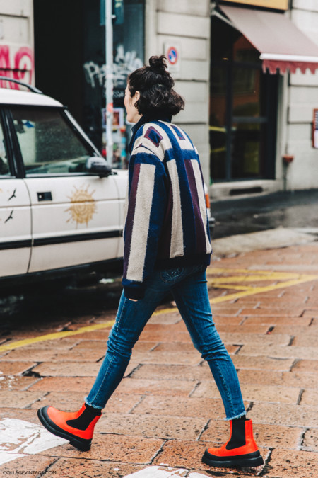 Milan Fashion Week Fall 16 Mfw Street Style Collage Vintage Striped Bomber Celine Rainy Boots 1