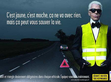 Campaña de seguridad vial francesa del chaleco reflectante con Karl Lagerfeld