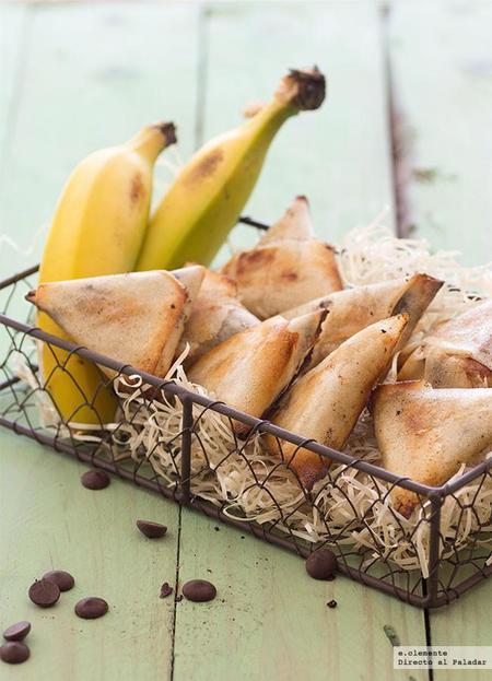 Samosas de plátano, ron y chocolate. Receta