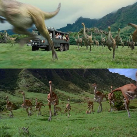 Jurassic World y Jurassic Park, estampida