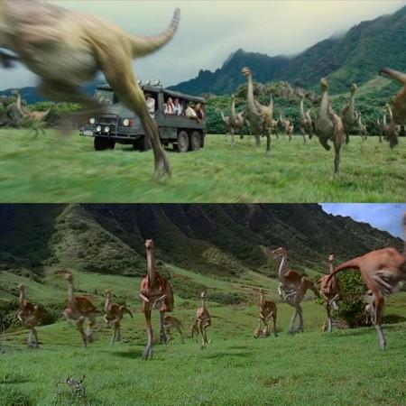 Jurassic World y Jurassic Park, estampida