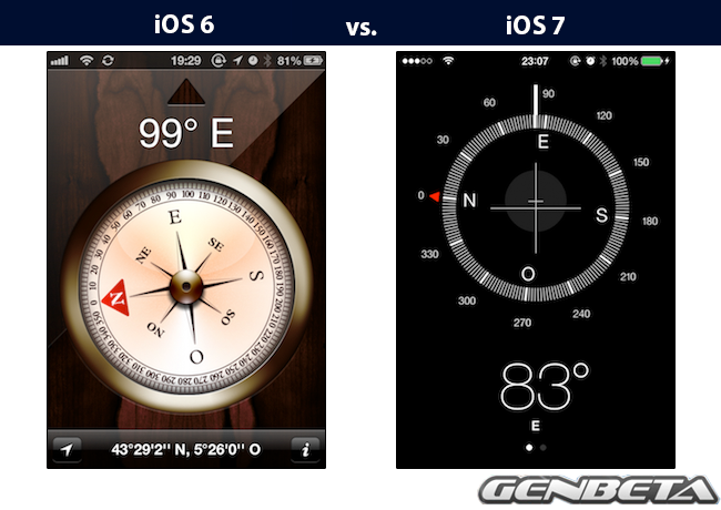 iOs 6 vs iOs 7 - brújula