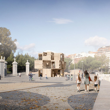 Durante el Madrid Design Festival se podrá visitar en la explanada de Madrid Río un pabellón modular construido solo con madera, un ejemplo de construcción alternativa y sostenible
