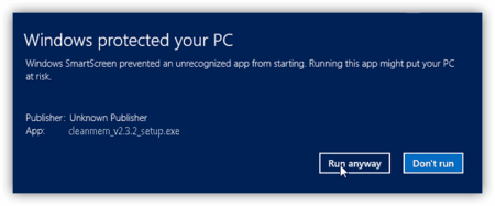 Run anyway SmartScreen