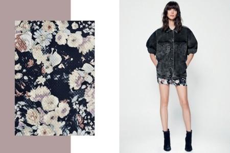minifalda flores mango