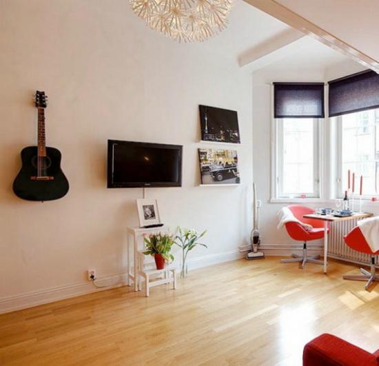 La televisión en el apartamento de 21 metros