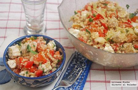 Ensalada mediterránea de quinoa con pollo. Receta