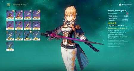 Armas para Jean en Genshin Impact