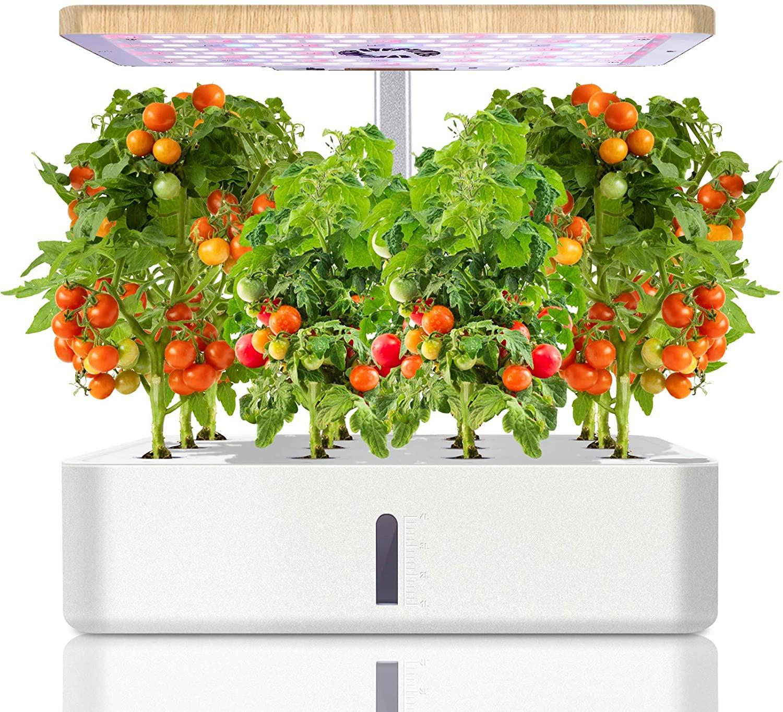 Ulikey Sistema de Cultivo Hidropónico, Jardinera de Interior de Hierbas, Maceta Inteligente de Jardín con Luz LED, Smart Garden, Kit de Germinación Automática con 12 Vainas, Altura Ajustable (Blanco)