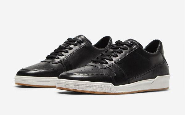 Sneaker tipo basket piel blanco y negro