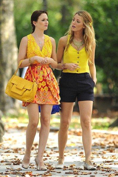Leighton Meester y Blake Lively en el rodaje de Gossip Girl