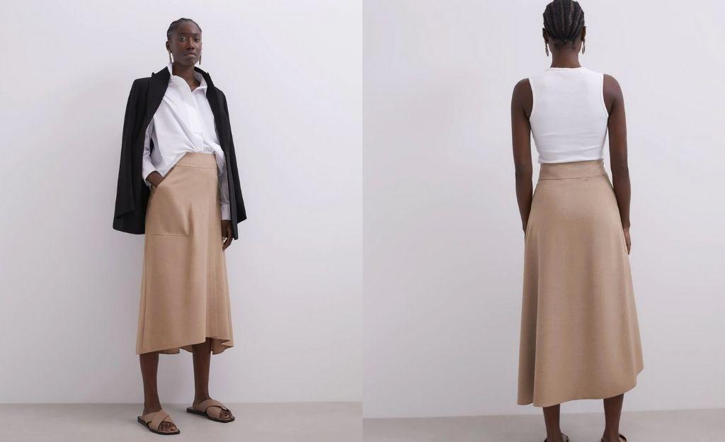 Falda midi asimétrica