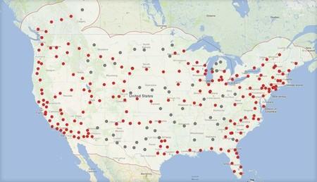 Mapa de la Red de Supercargadores de Tesla (2015)