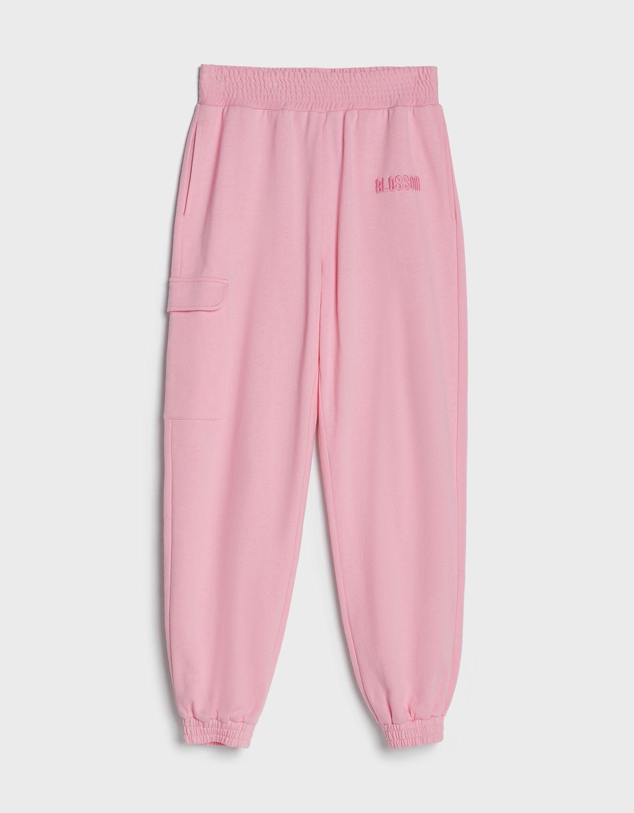 Pantalón tipo jogger en rosa.