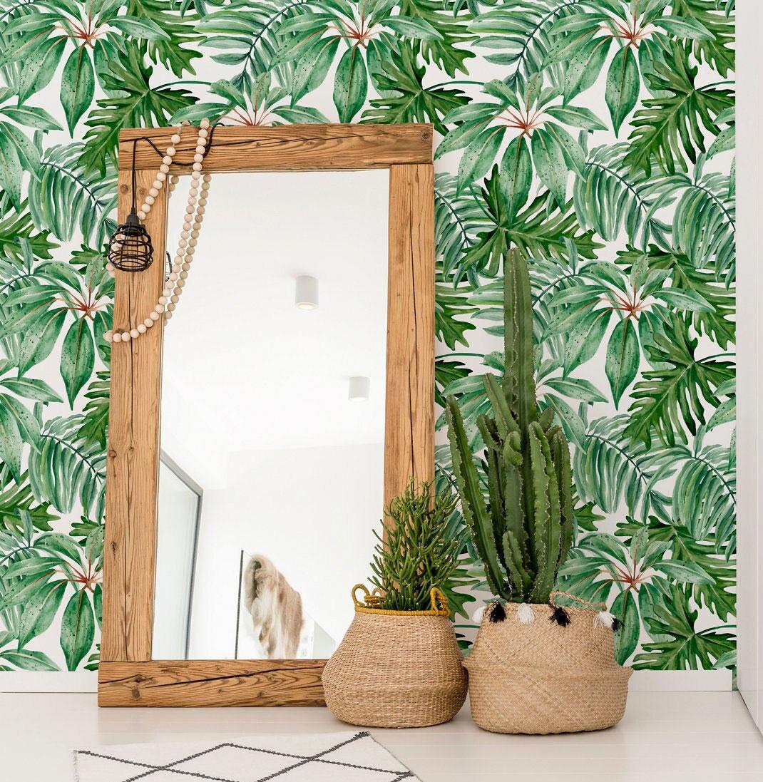 Papel pintado autoadhesivo floral vegetal
