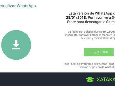 WhatsApp caducado: qué hacer si WhatsApp ha dejado de funcionar por ser antiguo