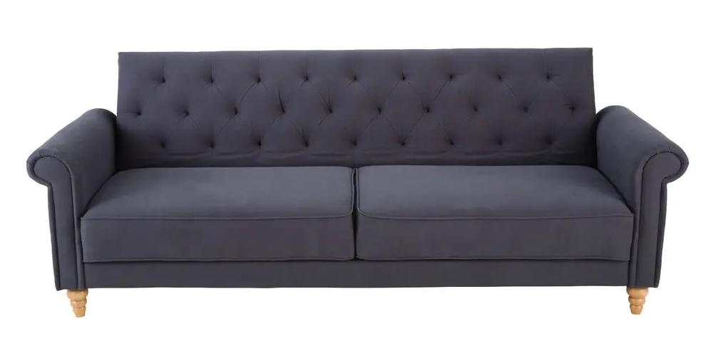 Sofá cama de 3 plazas de algodón gris antracita