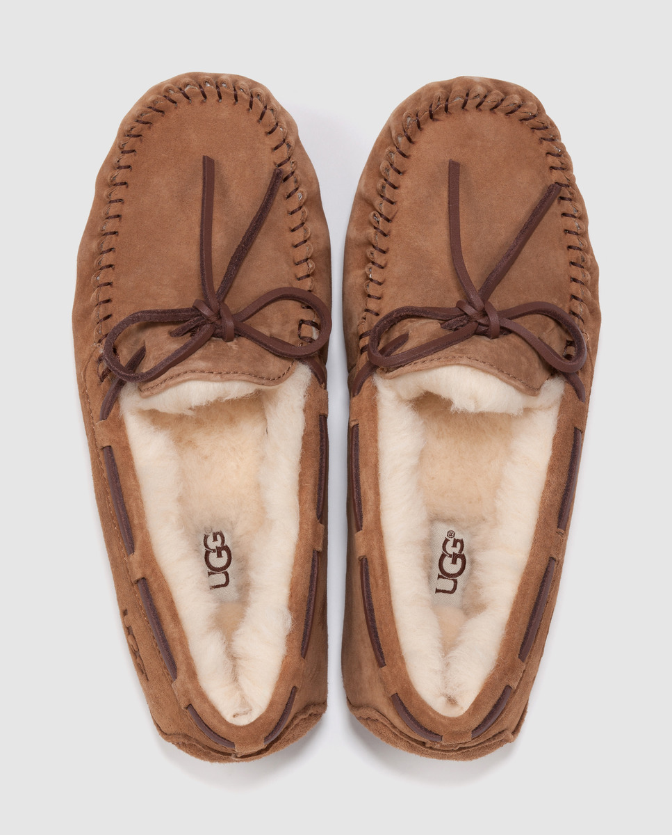 Zapatillas estilo mocasín de piel marrón