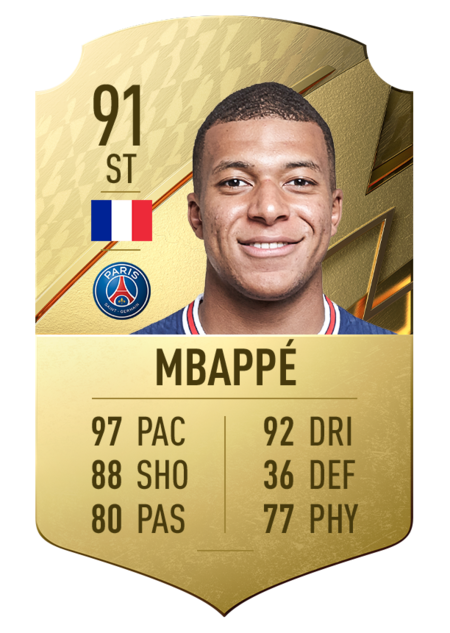 Mbappé jugadores rápidos FIFA 22