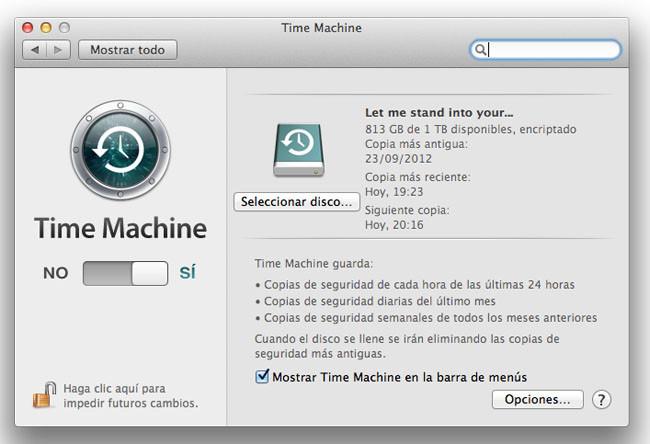 Panel de Time Machine