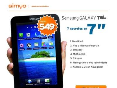 Samsung Galaxy Tab disponible con Simyo sin permanencia y tarifas en promoción
