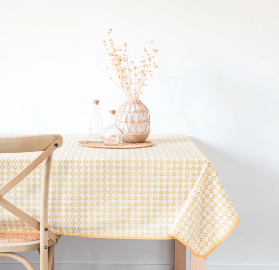 Mantel de algodón Certaldo color crudo y amarillo 140x250