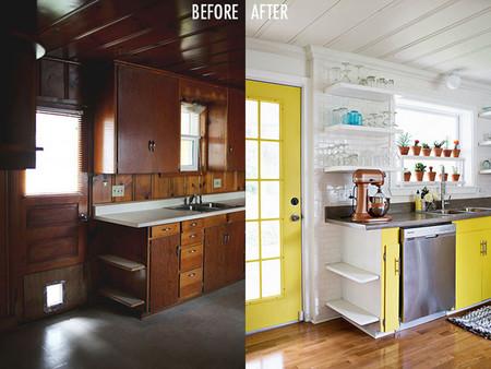 Cocinas en amarillo: un antes y después impactante