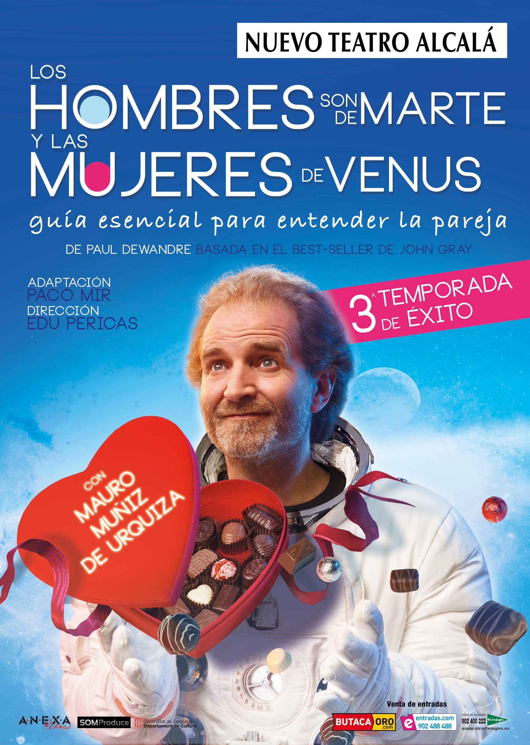 Entrada a la función de teatro Los hombres son de Marte y las mujeres de Venus
