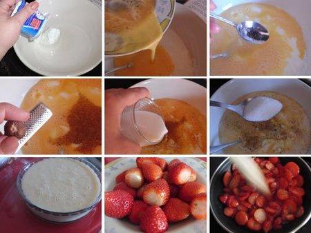 Flan crema con salsa de fresa