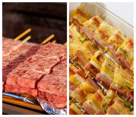 Kushiyaki Japones De Carne De Ternera Wagyu Izquierda Y Sanjeok Coreano Derecha Caracterizado Por Su Forma Rectangular E Intercarla Carne Y Vegetales