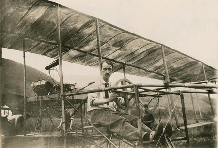 Glenn Curtiss In His Bi Plane July 4 1908