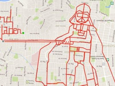 La originalidad de crear dibujos sobre mapas con sólo una bici, GPS y mucha creatividad
