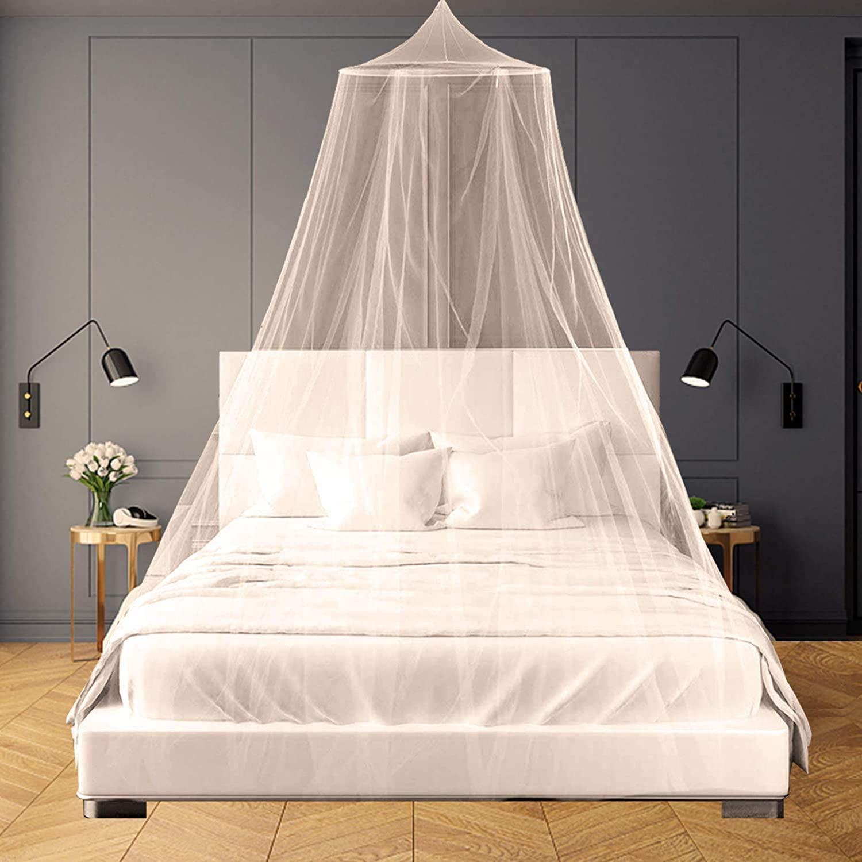 Mosquitera para Cama,Fácil Cama Colgante Canopy Netting, Protección de Red de Insectos para Camas Individuales y Dobles (Blanco)
