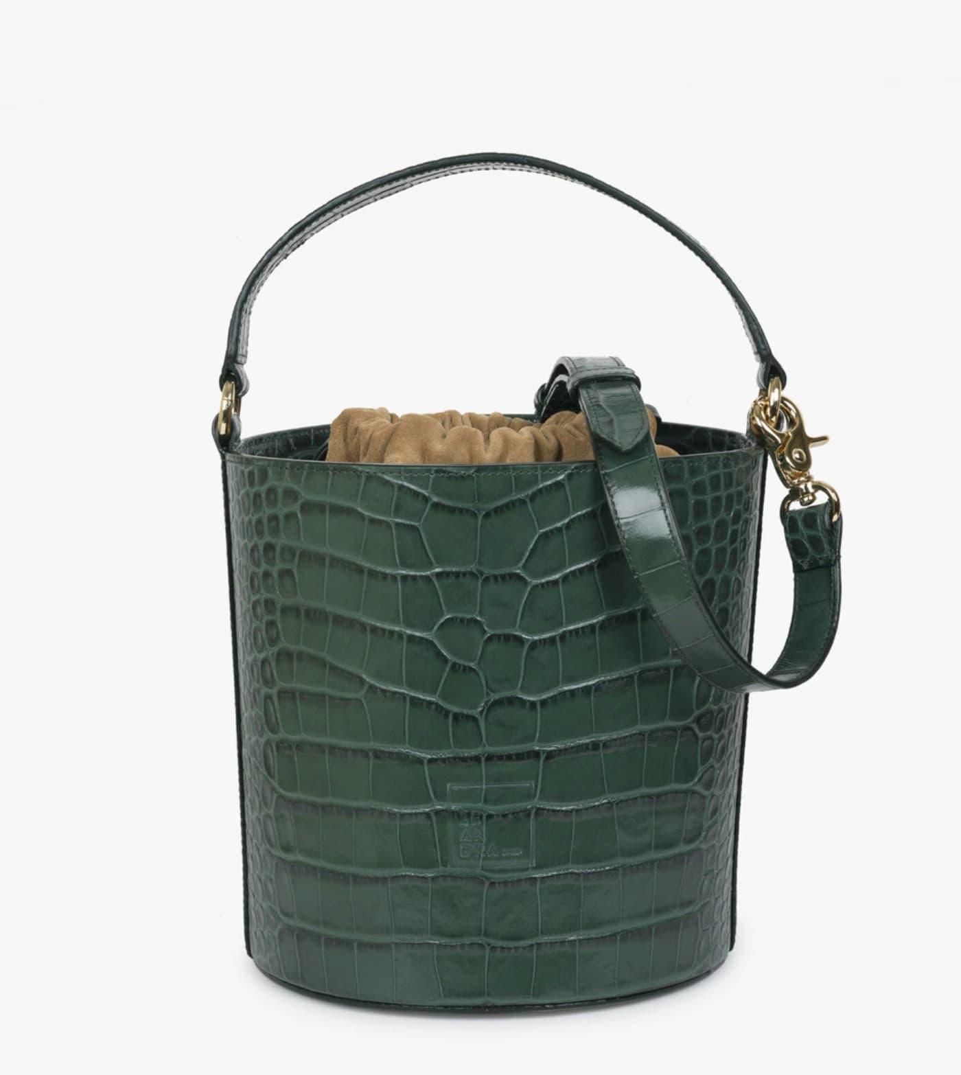 Bolso de mano de mujer Leandra cubo de piel en verde