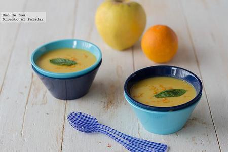 Crema de manzana al curry con zanahoria y naranja